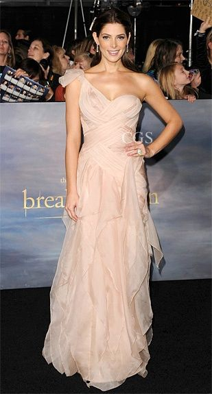 Ashleygreene stuns in pink wearing a custom dkny donna for Donna karan wedding dresses