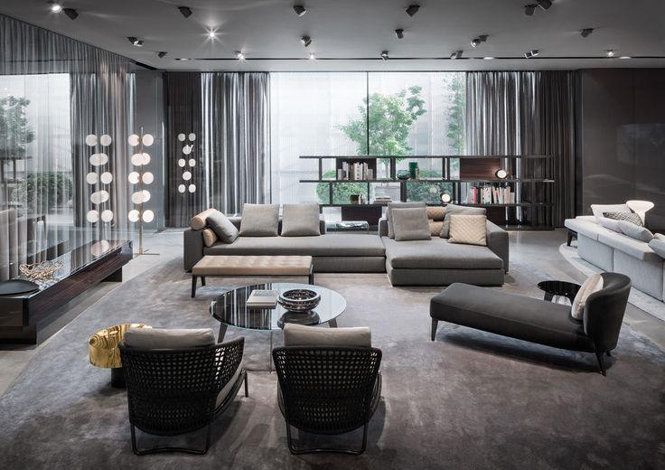 "Leonard seating system and Aston ""Cord"" Indoor armchairs, Rodolfo Dordoni Design"