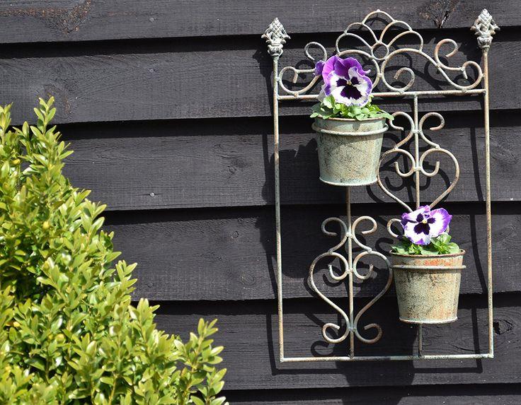 east2eden Metal Pots Garden Wall Hanger - Antique Cream