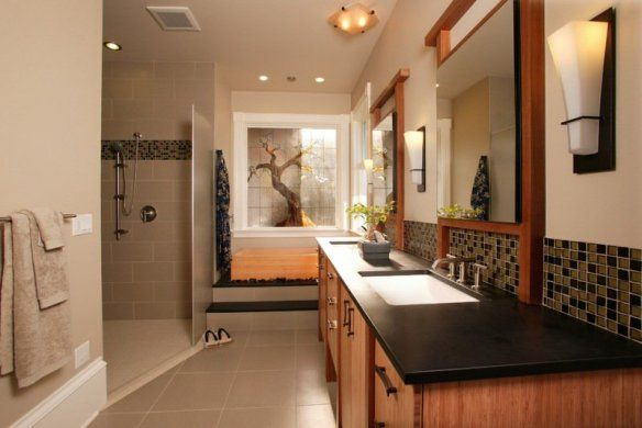 Decoration-zen-bathroom-design-tile-beige-colored-wood