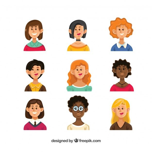 Set of hand drawn female avatars Free Vector