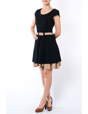 Rochie clos cu cordon in talie 1762 negru/bej  Brand: Moda Fashion
