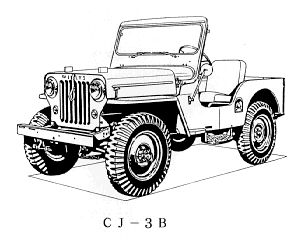 willys overland cj 3b for the jeep coloring book