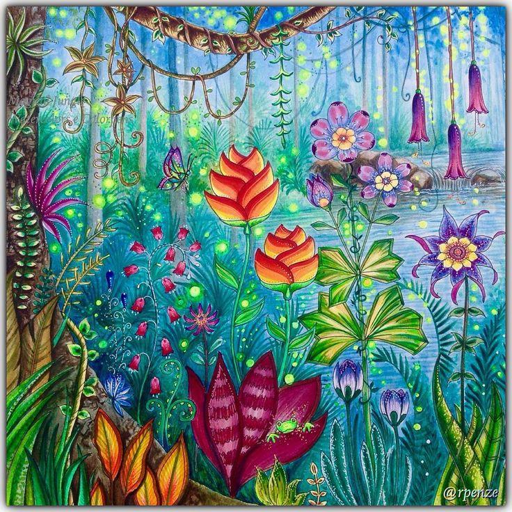 Magical Jungle - Johanna Basford - pagina dupla / pag da esquerda em close pra vc ver melhor os detalhes - material utilizado : aquarelas, colorgel , poscas, aquareláveis  #johannabasford #rpenze #magicaljungle #selvamagica #livrosdecolorirparaadultos #coloringforadults #watercolor