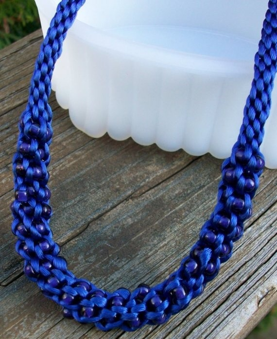 Royal Blue Beaded Kumihimo Necklace by allstrungout1 on