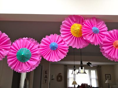 DIY:: Garland Tutorial  (Dollar Store Pink Plastic Tablecloth Covering Made  Into Pleated