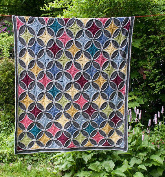 Cathedral Window Blanket - Crochet Pattern, PDF