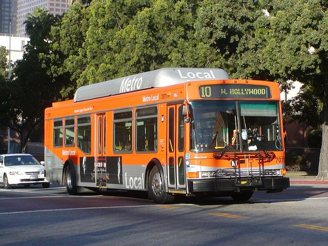 LACMTA Metro Local NABI 40-LFW Bus Number 7071 Run Code 004 Route 10 Westbound Melrose Avenue West Hollywood Santa Monica Blvd. and San Vicente Blvd. bus turns left at Temple Street on North Hill Street intersection traffic signal lights located at by RaymondYu, via Flickr