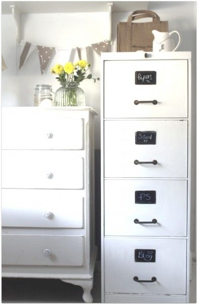 Have an old wooden filing cabinet my sister used in college.  Need to paint it like this one with the chalkboard tags