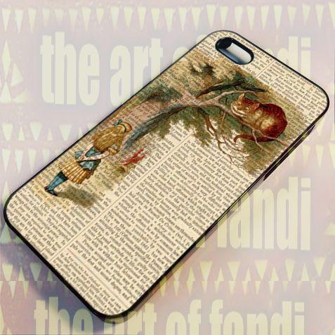 cheshire cat alice in wonderland For iPhone 5/5c/5s Black Rubber Case