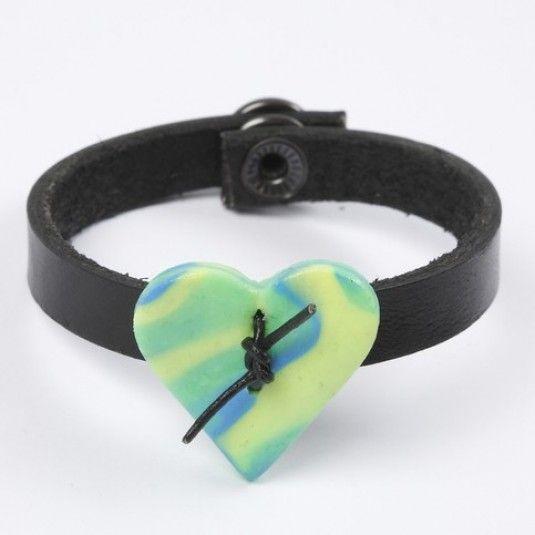 Læderarmbånd med hjerte i FIMO Smykkeler