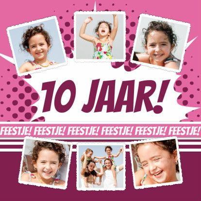 Collagekaart Feestje Roze - BK - Uitnodigingen - Kaartje2go