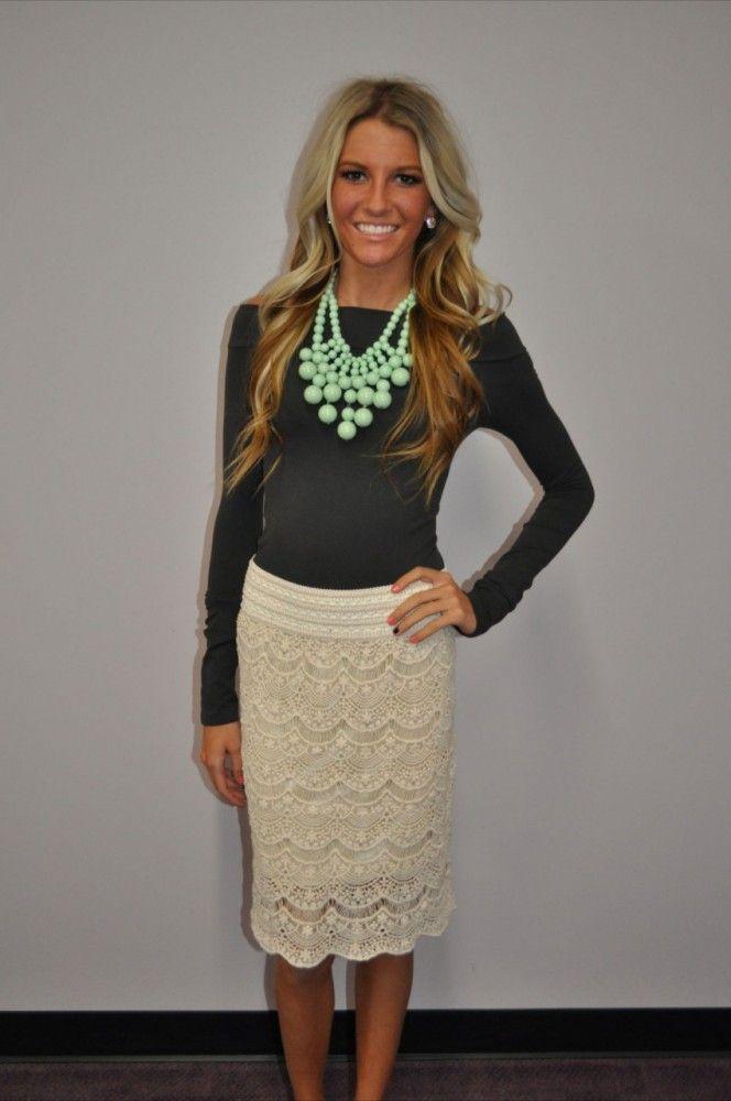 Modern Vintage Boutique - Cream Lace Pencil Skirt, $49.00 (http://www.modernvintageboutique.com/cream-lace-pencil-skirt.html)