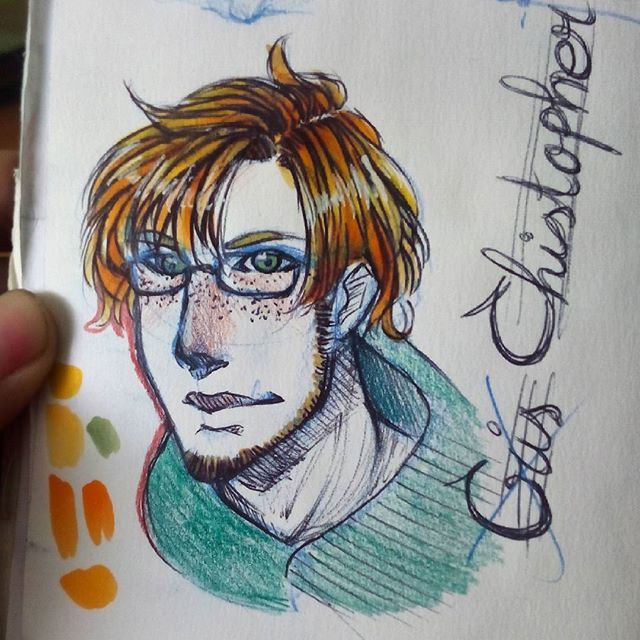 Suup! This is Christopher Wallace Woods, Maisie's big brother (one of them). He is also Gryffindor and is one year older than Maisie. Hope you like it  #chris #christopher #original #oc #originalcharacter #redhair #guy #sketch #draw #drawing #illustration #concept #copic #pen #ink #traditional #art #artist #gryffindor #hproleplay #roleplay