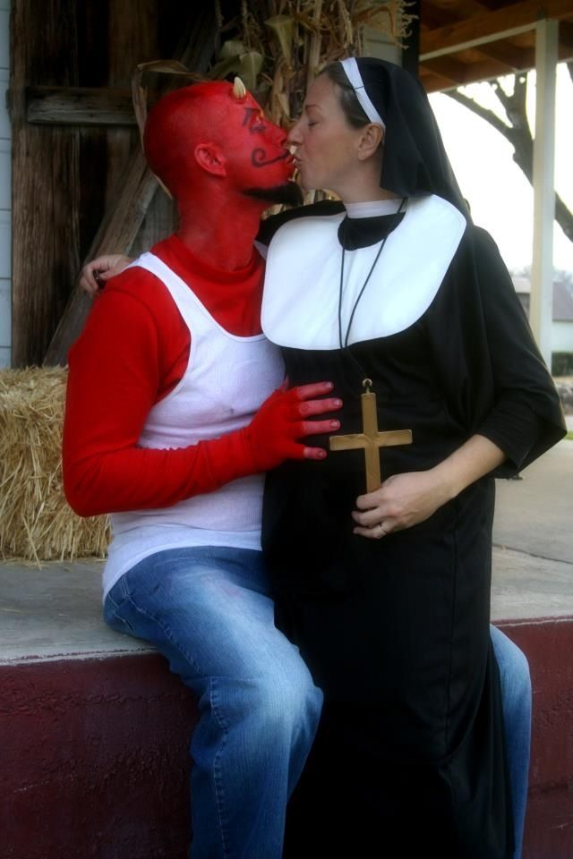 Red neck devil with pregnant nun Halloween costumes