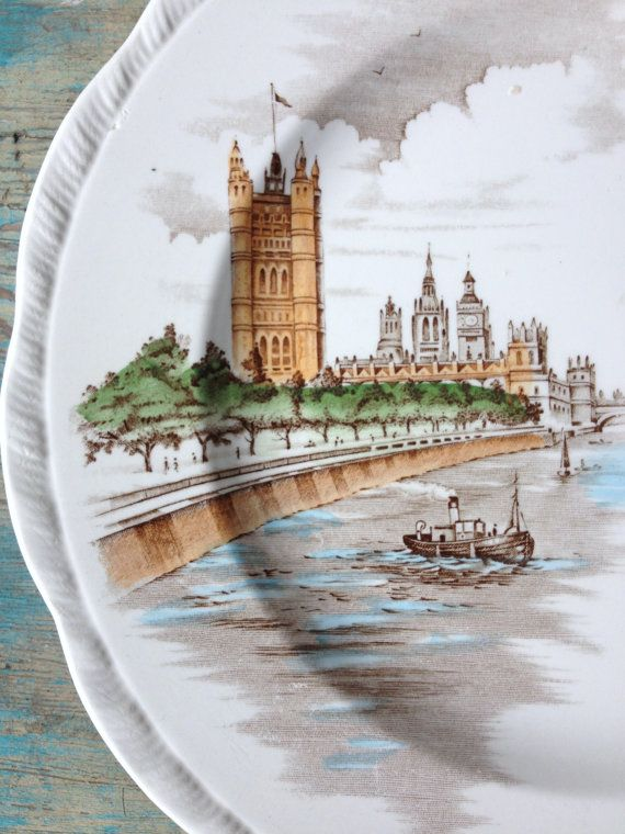 Father Thames Dinner Plate, Alfred Meakin Staffordshire England, Vintage Ironstone Plate, St Pauls Cathedral