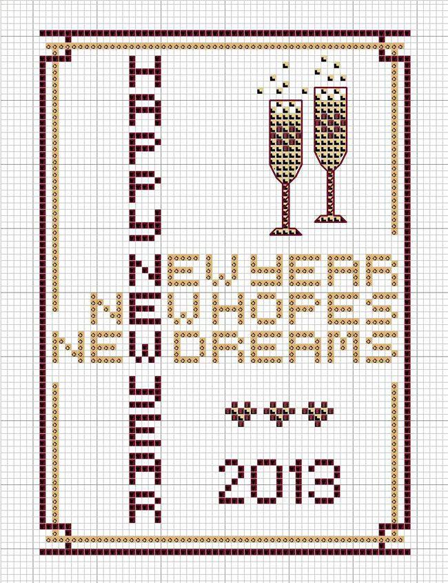 Free Cross stitch chart - New Year