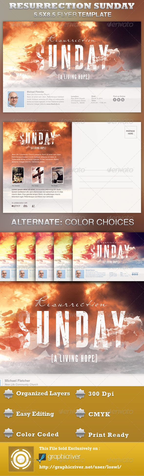 The Resurrection Sunday Church Flyer Template is great for any Easter and/or Resurrection Sunday event. In this package you'll find 1 Photoshop file. All text and graphics in the file are editable, color coded and simple to edit. The file also contain 6 one-click color options, but endless colors are possible. $6.00
