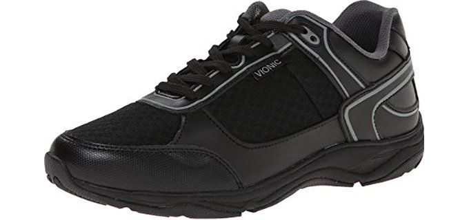 Vionic Endurance Orthaheel- Men's Walking Shoes for Shin Splints.  Shin splints are almost similar to flat feet and therefore shoes that are used for flat feet can do the job quite well. This particular model from Vionic is very strongly recommended or shin splints.