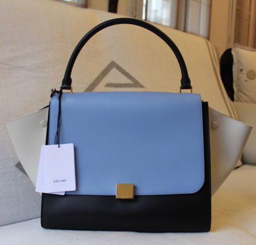Auth celine tri-color calfskin trapeze gm handbag - new never worn