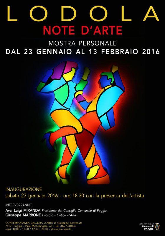 Note D'Arte. #Mostra personale di Marco #Lodola dal 23 gennaio al 13 febbraio 2016. Inaugurazione il 23 gennaio alle 18.30 a #Foggia (Fg)