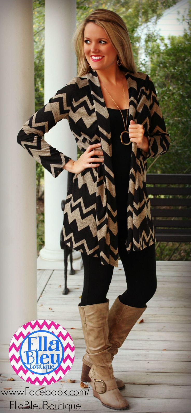 Love long sweaters and boots for fall! Found at Ella Bleu Boutique on Facebook!