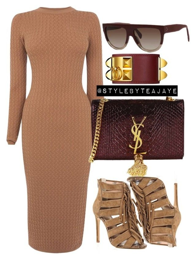 """""""Untitled #1947"""" by stylebyteajaye ❤ liked on Polyvore featuring Karen Millen, River Island and Yves Saint Laurent"""