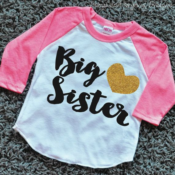 Big Sister Shirt Toddler Raglan Shirt by BumpAndBeyondDesigns