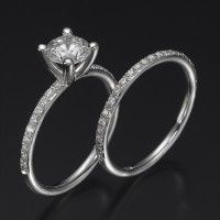 Cubic Zirconia Wedding Sets Swarovski Engagement Ring Set Ballerina Premier 14k White