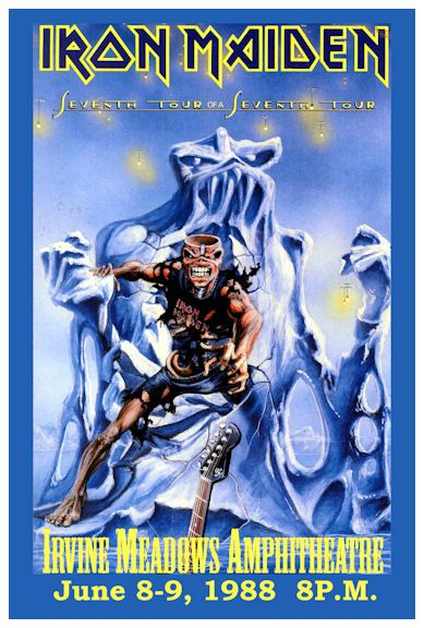 """IRON MAIDEN 1988 Concert Poster • 100% Mint unused condition • Well discounted price + we combine shipping • Click on image for awesome view • Poster is 12"""" x 18"""" • Semi-Gloss Finish • Great Music Collectible - superb copy of original • Usually ships within 72 hours or less with tracking. • Satisfaction guaranteed or your money back.Go to: Sportsworldwest.com"""