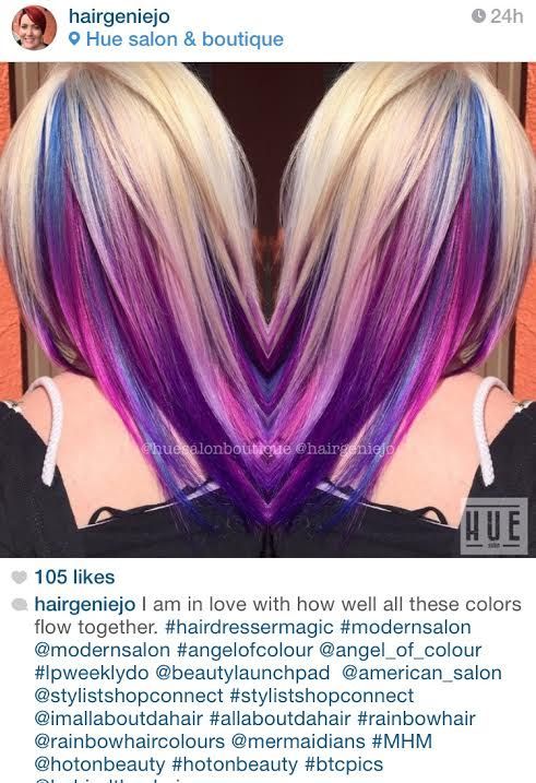 Color by Hue Salon & Boutique / Purple pink peekaboo highlights in blonde hair
