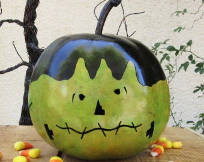 La gourde Frankenstein Jack O Lantern Primitive citrouille décoration de Halloween