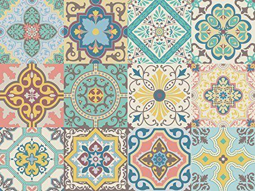 Vinilo decorativo, baldosas autoadhesivas con diseño de azulejos portugueses de la colección Belem (12 unidades) (15 x 15 cm cada uno)