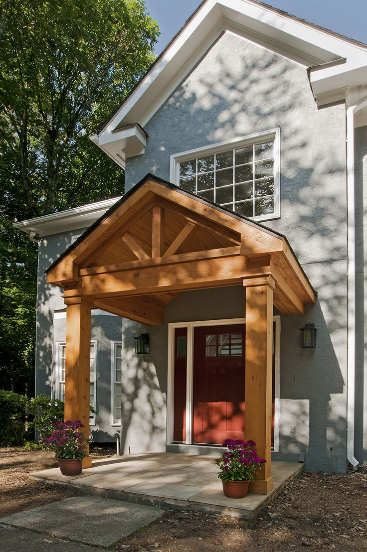 Timber Frame Portico With Gable Roof Designed And Built