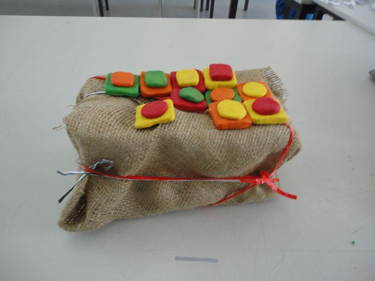 Balance and harmony of colours. materials: hemp/clay/plastic ribbon.