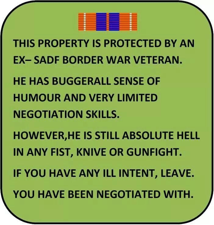 Veterans warning board.