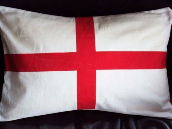 Lumbar pillow St Georges cross red whiteThrow pillow cushion cover. From VeeDubz at Etsy $20