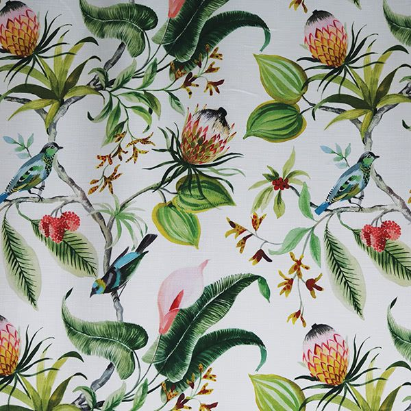 Hamilton Paradise Leaf Tropical Flowers And Foliage With Birds Drapery Tropical Flowers Foliage Floral Drapery Fabric
