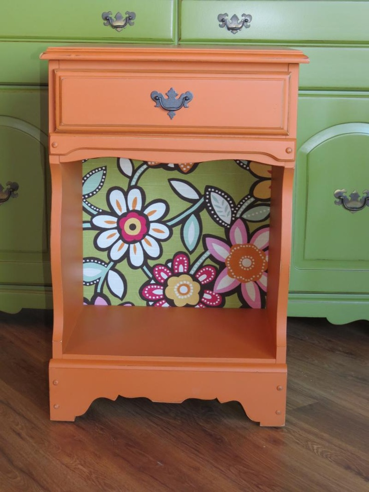 Annie Sloan Chalk Paint Barcelona Orange - LOVE this accent with wallpaper on the back!  Obsessed.