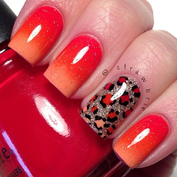 Instagram photo by strawbrie #nail #nails #nailart Not crazy about the animal print nail, but love the red to orange effect