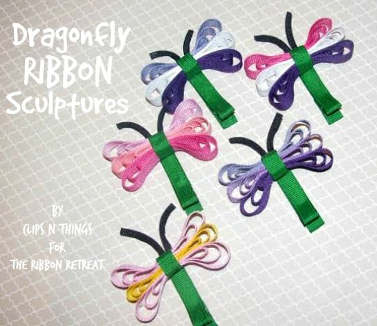 Dragonfly Ribbon Sculpture DIY craft project idea. Cute activity idea for grown ups and older kids. Also shows butterfly one.