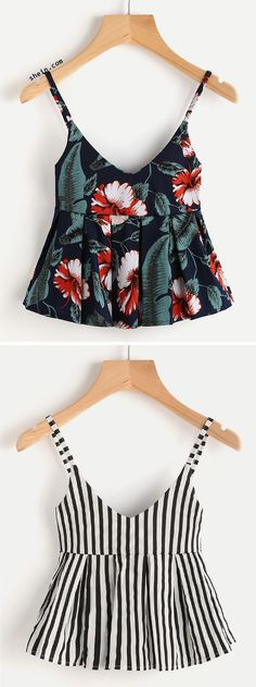 Floral Print Peplum Cami Top & V Neckline Vertical Striped Babydoll Cami Top