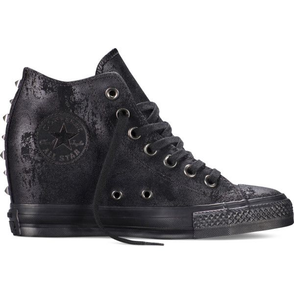 Converse Chuck Taylor All Star Lux Hardware – black Sneakers ($95) ❤ liked on Polyvore featuring shoes, sneakers, shoes/boots, black, black wedge heel shoes, black wedge shoes, kohl shoes, black sneakers and converse footwear