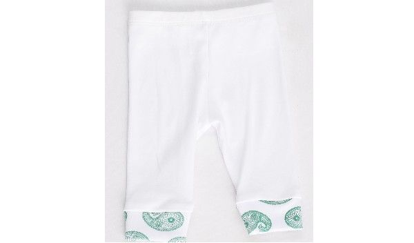 Royal Paisley Cuff Organic – Cotton Pants. These snug pants are soft white cotton and the ankle cuffs feature our original Royal Paisley Print in Emerald Green. The waist has comfortable elastic for a good fit.  Our organic pants look great with our Royal Paisley Print Organic Onesie  These pants are 100% organic cotton and available in three sizes: 0 – 3 months | 3 – 6 months | 6 – 12 months