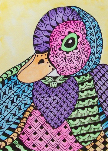 Aceo le print zentangle duck bird animal easter doodle for Tangle creations ebay