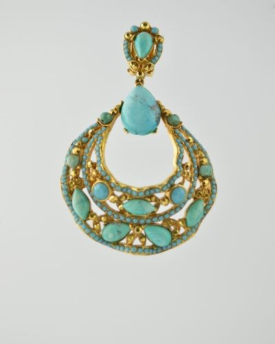 TURQUOISE JEWELED FILAGREE 24 Karat gold plated jeweled encrusted filagree hoop earring with natural turquoise stones and Austrian crystals in turquoise and gold colour. Earring is clip on . Earring is 3 inches long and 2 inches at widest point. Get a 20% discount with promo code: Olusegun683. $440