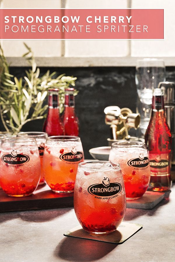 Kick back with a delicious Cherry Pomegranate Spritzer using Strongbow Cherry Blossom Hard Cider. Enjoy this refreshing and flavorful drink recipe after work or serve it when hosting a group of friends. Made with fresh pomegranate seeds and lime juice, this drink is definitely a crowd pleaser.