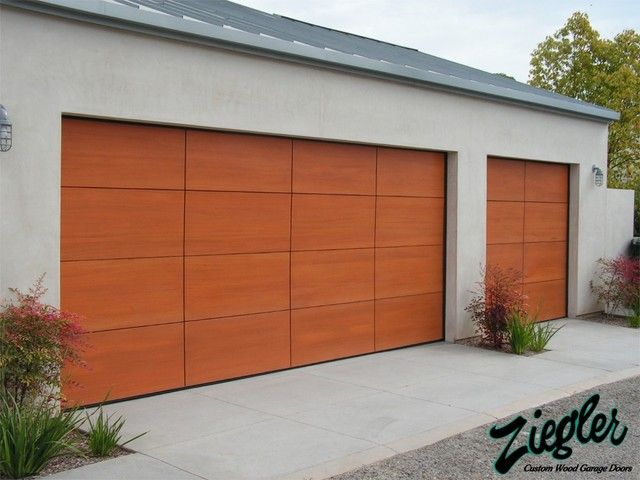Exterior Design Appealing Modern Garage Door Made Froom Wood Also Grey Concrete Wall And Ground