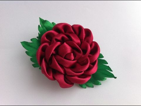 Украшение на заколку Канзаши / Бордовая роза / Kanzashi Rose - YouTube