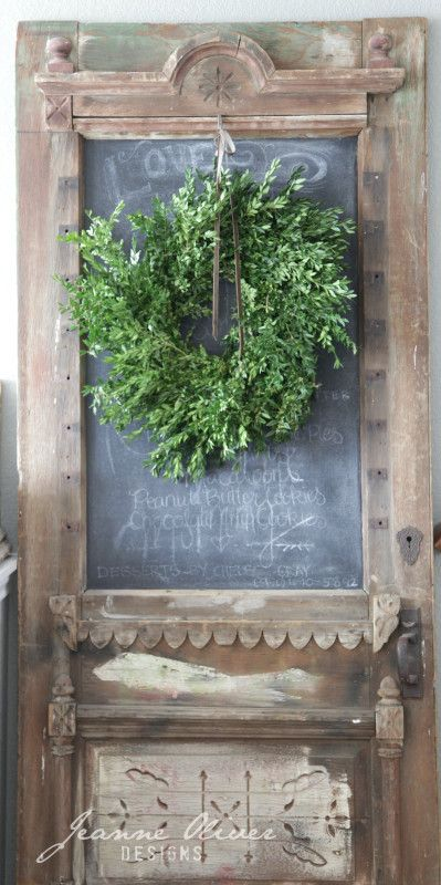 Jeanne Oliver vintage door and wreath holiday decor